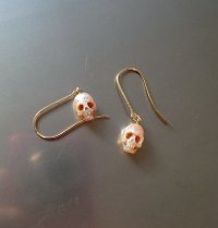Carved pearl skull Drop Earrings