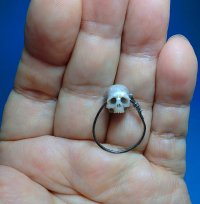 carved pearl skull ring(color-gray)